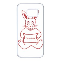 Cute Rabbit With I M So Cute Text Banner Samsung Galaxy S7 White Seamless Case