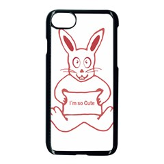 Cute Rabbit With I M So Cute Text Banner Apple Iphone 7 Seamless Case (black)