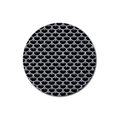 Scales3 Black Marble & Gray Marble Rubber Round Coaster (4 Pack)