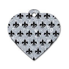 Royal1 Black Marble & Gray Marble Dog Tag Heart (one Side)
