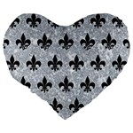 ROYAL1 BLACK MARBLE & GRAY MARBLE Large 19  Premium Flano Heart Shape Cushion Back