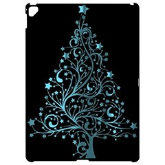 Elegant Blue Christmas Tree Black Background Apple Ipad Pro 12 9   Hardshell Case