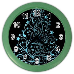 Elegant Blue Christmas Tree Black Background Color Wall Clocks
