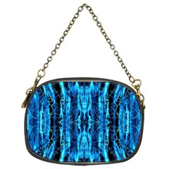 Bright Blue Turquoise  Black Pattern Chain Purses (Two Sides)