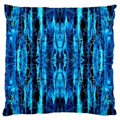 Bright Blue Turquoise  Black Pattern Large Cushion Case (Two Sides)