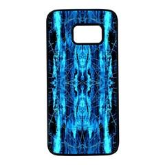 Bright Blue Turquoise  Black Pattern Samsung Galaxy S7 Black Seamless Case