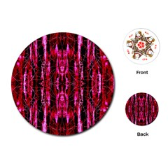 Pink Burgundy Traditional Pattern Playing Cards (Round)