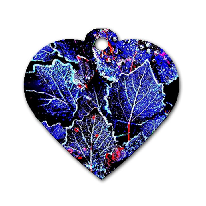 Blue Leaves In Morning Dew Dog Tag Heart (Two Sides)