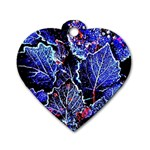 Blue Leaves In Morning Dew Dog Tag Heart (Two Sides) Back
