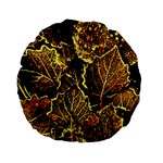 Leaves In Morning Dew,yellow Brown,red, Standard 15  Premium Flano Round Cushions Back