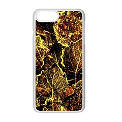 Leaves In Morning Dew,yellow Brown,red, Apple Iphone 7 Plus White Seamless Case