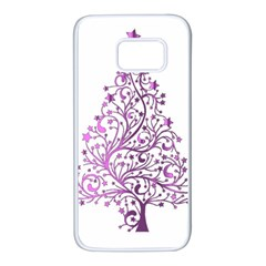 Elegant Starry Christmas Pink Metallic Look Samsung Galaxy S7 White Seamless Case
