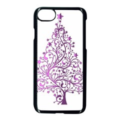 Elegant Starry Christmas Pink Metallic Look Apple Iphone 7 Seamless Case (black)