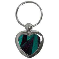 Abstract Green Purple Key Chains (heart)