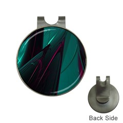 Abstract Green Purple Hat Clips With Golf Markers