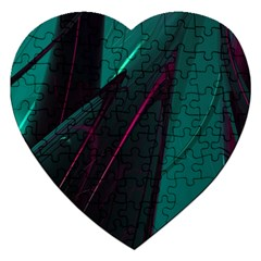 Abstract Green Purple Jigsaw Puzzle (heart)