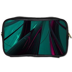 Abstract Green Purple Toiletries Bags