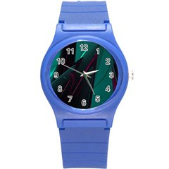 Abstract Green Purple Round Plastic Sport Watch (s)