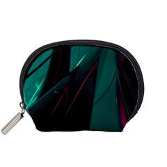 Abstract Green Purple Accessory Pouches (small)