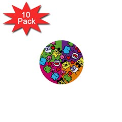 Cartoon Pattern 1  Mini Buttons (10 Pack)