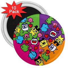Cartoon Pattern 3  Magnets (10 Pack)