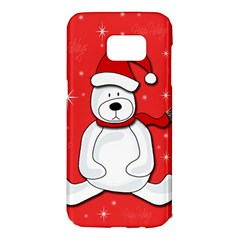 Polar bear - red Samsung Galaxy S7 Edge Hardshell Case