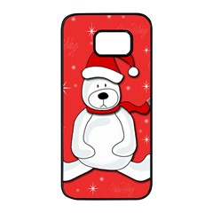 Polar bear - red Samsung Galaxy S7 edge Black Seamless Case