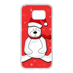 Polar bear - red Samsung Galaxy S7 edge White Seamless Case