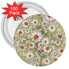 Beautiful White Flower Pattern 3  Buttons (100 Pack)