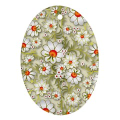 Beautiful White Flower Pattern Oval Ornament (two Sides)