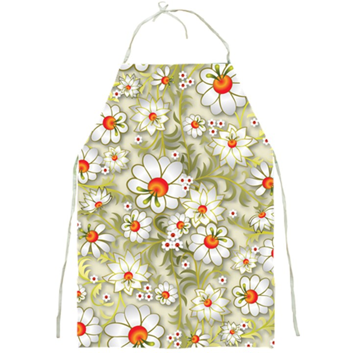 Beautiful White Flower Pattern Full Print Aprons