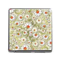 Beautiful White Flower Pattern Memory Card Reader (square)