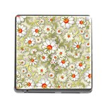 Beautiful White Flower Pattern Memory Card Reader (Square) Front