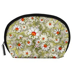 Beautiful White Flower Pattern Accessory Pouches (large)