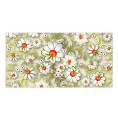 Beautiful White Flower Pattern Satin Shawl