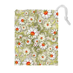 Beautiful White Flower Pattern Drawstring Pouches (extra Large)