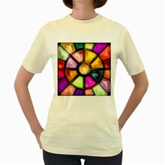 Glass Colorful Stained Glass Women s Yellow T Shirt
