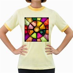 Glass Colorful Stained Glass Women s Fitted Ringer T Shirts