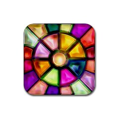 Glass Colorful Stained Glass Rubber Coaster (square)