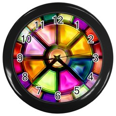 Glass Colorful Stained Glass Wall Clocks (black)