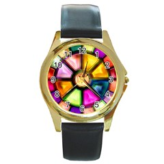 Glass Colorful Stained Glass Round Gold Metal Watch