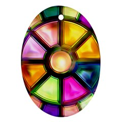 Glass Colorful Stained Glass Oval Ornament (two Sides)