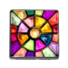 Glass Colorful Stained Glass Memory Card Reader (square)