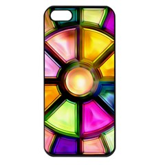 Glass Colorful Stained Glass Apple Iphone 5 Seamless Case (black)