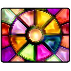Glass Colorful Stained Glass Double Sided Fleece Blanket (medium)