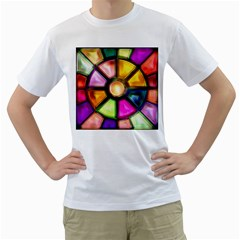 Glass Colorful Stained Glass Men s T Shirt (white)