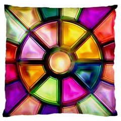 Glass Colorful Stained Glass Large Flano Cushion Case (one Side)