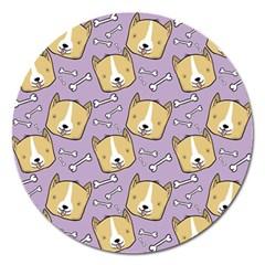 Corgi Pattern Magnet 5  (round)