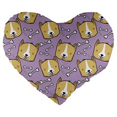 Corgi Pattern Large 19  Premium Heart Shape Cushions