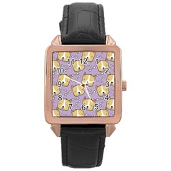 Corgi Pattern Rose Gold Leather Watch